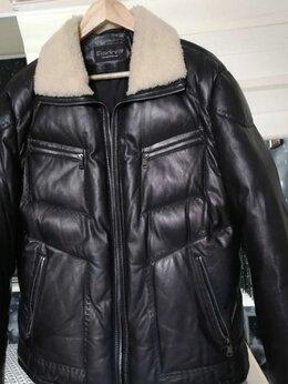 Куртки - Пуховик кожаный мужской, 0