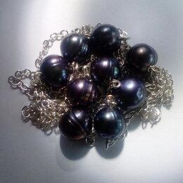 Комплекты - Комплект бусы и серьги натуральный черный Жемчуг, серебро 925, 0