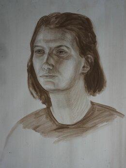 """Картины, постеры, гобелены, панно - Рисунок на бумаге соусом """"Портрет молодой девушки"""", 0"""