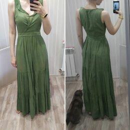Платья - Платье зелёное в пол, 0
