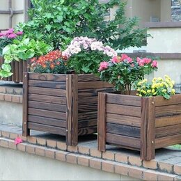 Горшки, подставки для цветов - Кашпо деревянное для улицы , 0