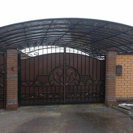 Заборы, ворота и элементы - Въездные ансамбли - ворота с навесом, 0