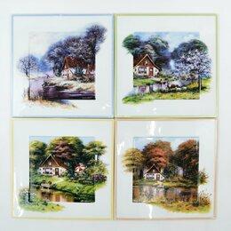 Картины, постеры, гобелены, панно - Пласт фарфор картина тарелка дом времена года, 0