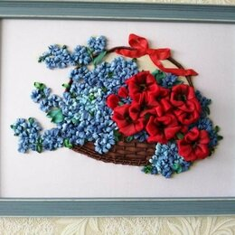 Картины, постеры, гобелены, панно - Картина вышитая лентами *Цветы в корзине*, 0