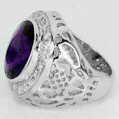 Кольца и перстни - Кольцо из серебра с аметистом., 0