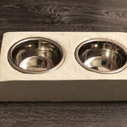 Миски, кормушки и поилки - Подставка из бетона с мисками из нержавеющей стали , 0