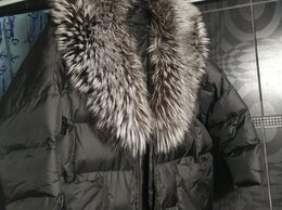 Пуховики - Пуховик женский оверсайз с воротником чернобурки, 0