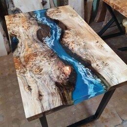 Столы и столики - Стол река из массива Осокорь каповый Стол лофт, 0