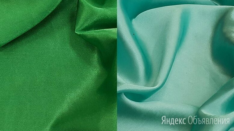 Ткань креп-сатин (цвет зеленый и мятный) по цене 204₽ - Ткани, фото 0