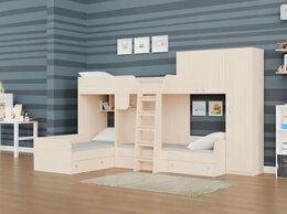 Кровати - Трехместная кровать ТРИО-2 дуб молочный, 0