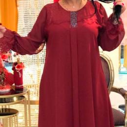 Платья - Платье бордо с рукавами и брошью, 0