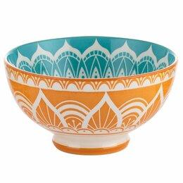 Кружки, блюдца и пары - Миска оранжево-голубая 15 см World Foods India , 0