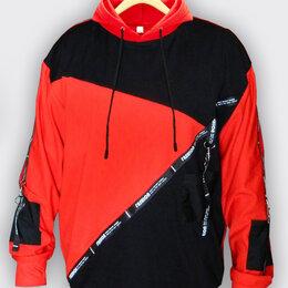 Толстовки - Кофта мужская анорак красный с капюшоном и черными цветом спортивная, 0