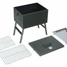 Туристическая посуда - Мангал-коптильня СОЮЗГРИЛЬ 40х30х40 со складными ножками и термометром, 0
