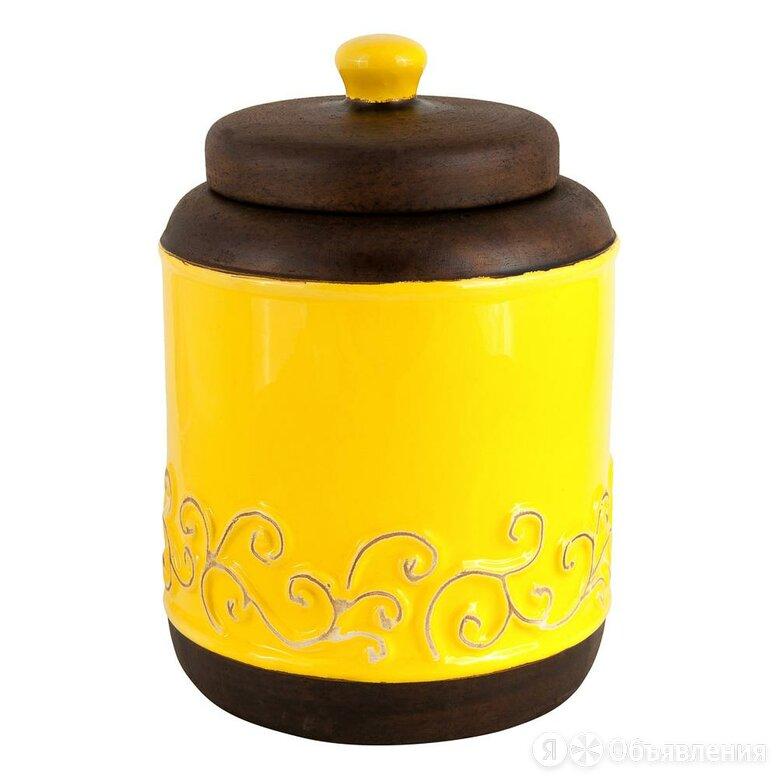 """Ваза керамическая желтая с коричневой крышкой 22 см """"Солнечные блики"""" по цене 4400₽ - Вазы, фото 0"""