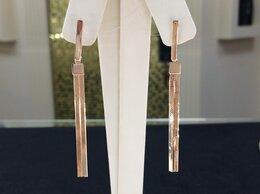 Серьги - Золотые серьги цепи • Длинные без камней, 585°, 0