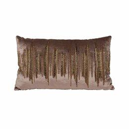 Подушки - Декоративная подушка 30х50 см с бисером бежевая…, 0