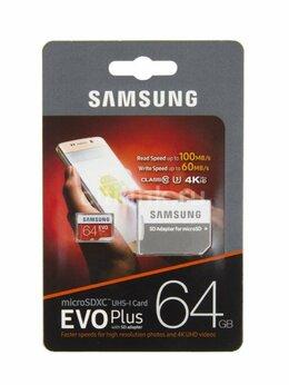 Карты памяти - Карта памяти Samsung microSD EVO Plus 64Gb U3, 0