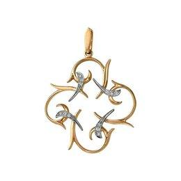 Кулоны и подвески - Подвеска из золота ажурный цветок клевера фианиты , 0
