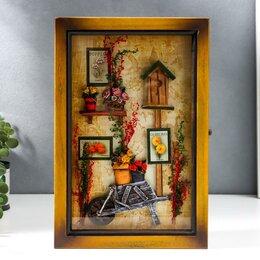 """Настенные ключницы и шкафчики - Ключница дерево 6 крючков """"Тачка с цветами""""  29х19,5х7 см, 0"""