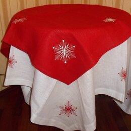 Скатерти и салфетки - скатерть льняная Снежинка вышивка LinoRusso новая, 0