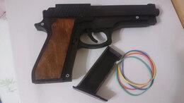 Игрушечное оружие и бластеры - Деревянный пистолет резинпострел беретта м9, 0