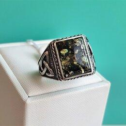 Кольца и перстни - Серебряная печатка с зеленым янтарем,…, 0