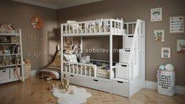 Кроватки - Кровать двухъярусная с ящиками и лесенкой комодом, 0