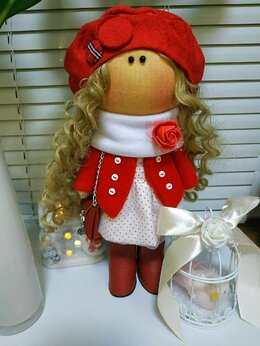 Куклы и пупсы - Интерьерная текстильная куколка , 0