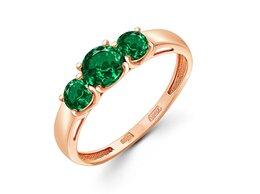 Кольца и перстни - Кольцо с 3 изумрудами из красного золота, 0