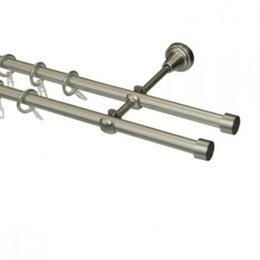 Карнизы и аксессуары для штор - Карниз ков d16мм серебр-мат 2-х ряд сост в туб 2,4, 0