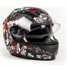 Мотоэкипировка - Шлем THH TS - 42#11 MATTE SKULL 2 - стекла (S), 0