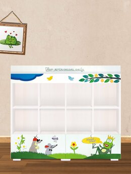 Стеллажи и этажерки - Стеллаж детский с щиками для книг и игрушек, 0