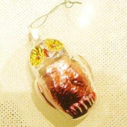 Ёлочные украшения - Елочная игрушка сова стекло Германия 40х г, 0