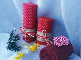 Декоративные свечи - Набор красных свечей из натуральной вощины, 0