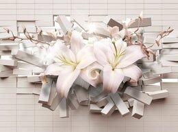 Обои - Фотообои 3д с белыми кирпичами и цветами, 0