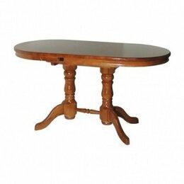 Столы и столики - Стол Овальный деревянный обеденный на двух ножках, 0