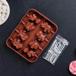 Формы для льда и десертов - Форма для леденцов Доляна «Дино», 14×11×1,5 см, 8 ячеек, цвет шоколадный, 0