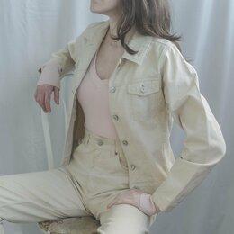 Куртки - Джинсовая куртка бежевая женская винтажная, примерно 40-42 (36 EUR/GER), 0