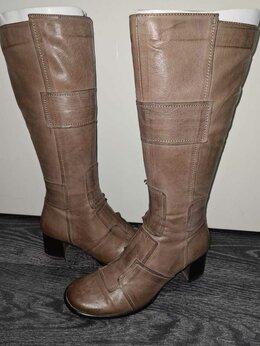 Сапоги - Сапоги кожаные женские на небольшом каблуке, 0