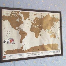 Гравюры, литографии, карты - Стиральная скретч-карта мира в рамке, 0
