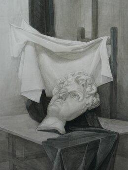 Картины, постеры, гобелены, панно - Рисунок карандашом натюрморт с гипсовой головой, 0