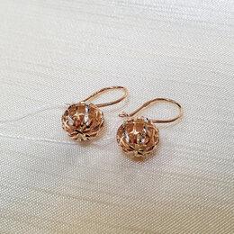 Серьги - Новые золотые серьги с алмазкой , 0