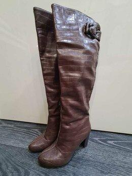 Сапоги - Высокие женские сапоги на каблуке, 0