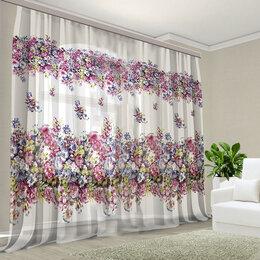 Шторы - Тюль фотошторы цветы цветочный сиреневый, розовый , 0
