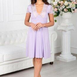 Домашняя одежда - Сорочка женская вискозная лаванда, кружева по линии декольте и на рукавах, 0
