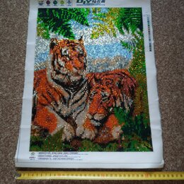 Картины, постеры, гобелены, панно - Готовая алмазная картина мозаика Тигры 35х45 см, 0