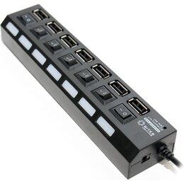 Компьютерные кабели, разъемы, переходники - Разветвитель USB-хаб 2.0 на 7 USB с выключателями, 0