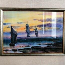 Картины, постеры, гобелены, панно - Большая картина в раме со стеклом «Три корабля», 0