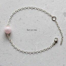Браслеты - Браслет с розовым кварцем, на серебряной…, 0